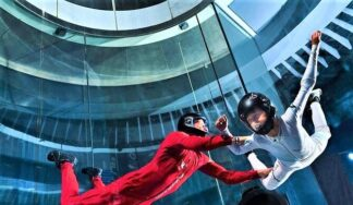 Indoor sky diving in Budapest during a stag do